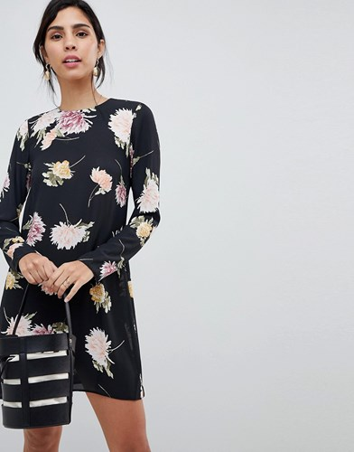 Oh My Love Floral Long Sleeve Dress Black Floral s6s03W2gN