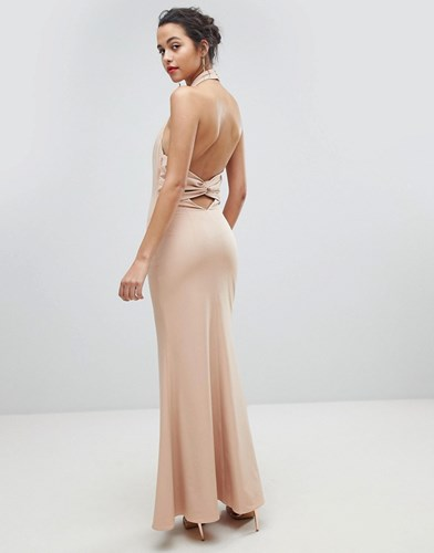 Open Dress Jarlo Back Pink Ruched High Maxi Neck fxxtH1wA