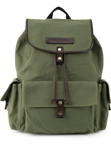 DSquared Dsquared2 Military Backpack Cotton Calf Leather Green 0YWZkf