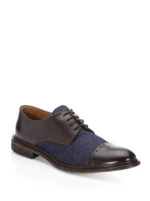Saks Fifth Avenue Collection Mixed Media Brogue Dress Shoes Cafe Denim 3ld4s01CF