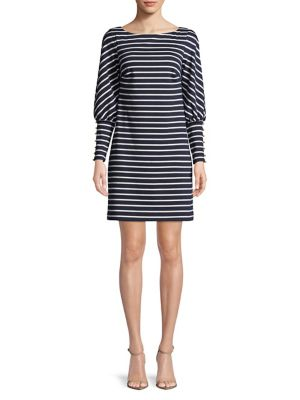 Vince Camuto Striped Shift Dress Navy Ivory tBbJIm5zVc