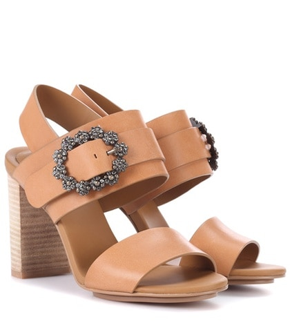 See by Chloe Embellished Leather Sandals Brown ORIzahmv0