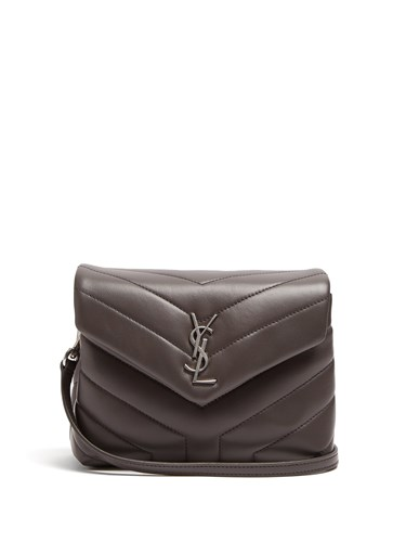 Saint Laurent Loulou Toy Quilted Leather Cross Body Bag Dark Grey 61lx9k