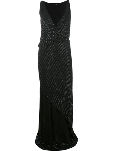 DSquared Dsquared2 Bead Embellished Wrap Dress Black pfobW
