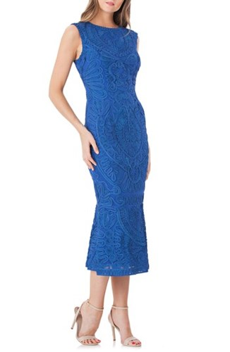 JS Collections Soutache Mesh Dress Cobalt ZyCz1Uhh