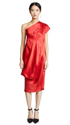 Zero Maria Cornejo One Shoulder Loop Dress Poppy Fuchsia CrhlPdLV