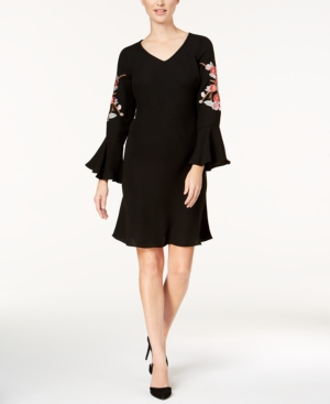 Si Fashions Sl Embroidered Bell Sleeve A Line Dress Black vmSFJ32