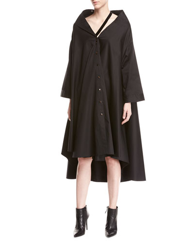 palmer/harding Jasmin Bateau Neck Button Front Long Sleeve A Line Dress Black iu8PTW2u4v