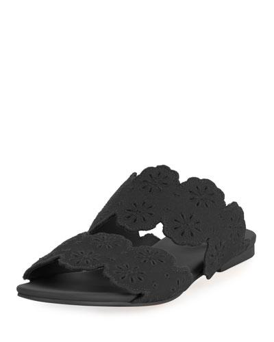 See by Chloe Cutout Floral Flat Two Band Slide Sandal Black 1j4W8d