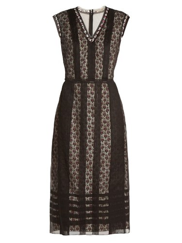 Organza Silk Layered Dress Multi Veneta Bottega Black 1AOxzAq