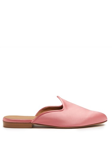 LE MONDE BERYL Venetian Backless Satin Slipper Shoes Light Pink krgdw3