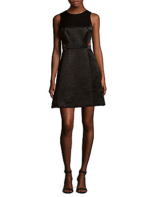 Halston Sleeveless Fit And Flare Dress Black liQcPIq