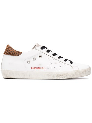 Golden Goose Deluxe Brand White Leopard Superstar Sneakers Cotton Leather Rubber 4VtEW4yqAw