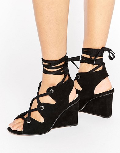 Asos Taste Lace Up Wedge Sandals Black ymyAh8F3S