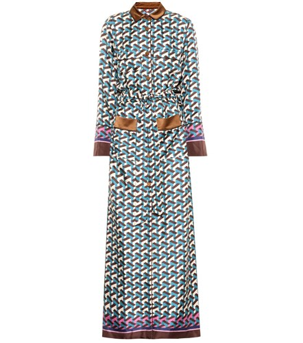 F.R.S For Restless Sleepers Fantaso Printed Silk Maxi Dress Multicoloured QsCTF