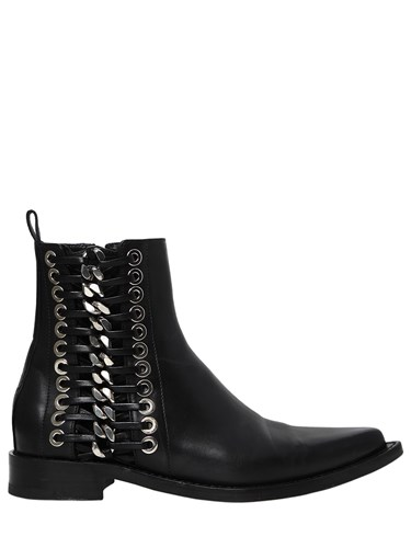 20Mm Chain Alexander Leather McQueen Braided Boots Z4qRT1gxwq