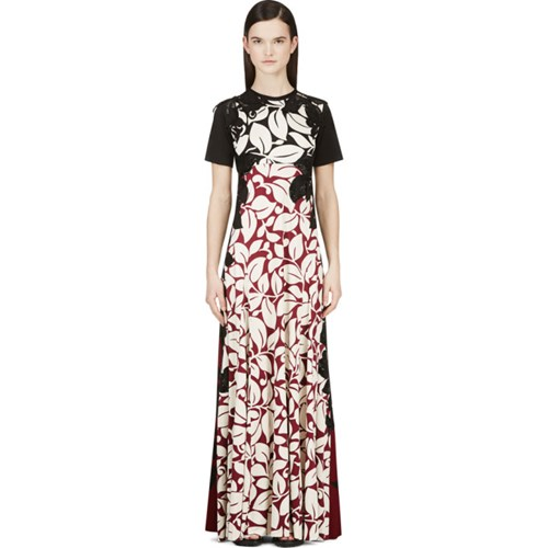 Marc Jacobs Black And Burgundy Silk Jersey Gown mTWdiFAJP
