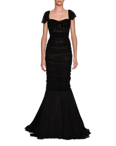 Dolce & Gabbana Sweetheart Neck Ruched Tulle Trumpet Evening Gown Black rTCgIg7OOj