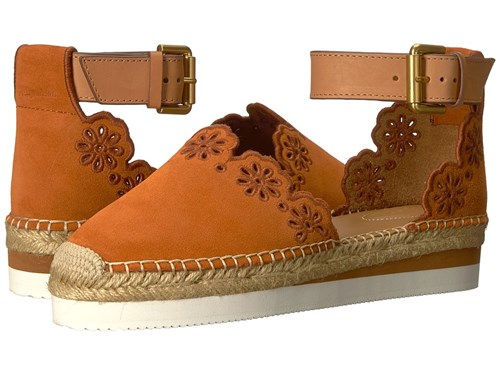 See by Chloe Sb30201 Crosta Orange Natural Calf Cuoio Women's Flat Shoes Brown NjtqnpXb