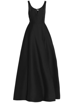 Halston Cotton And Silk Blend Gown Black ZhAY92oh