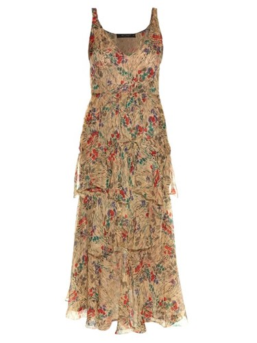 Etro V Neck Sleeveless Floral Print Gown Cream Multi bihxoH