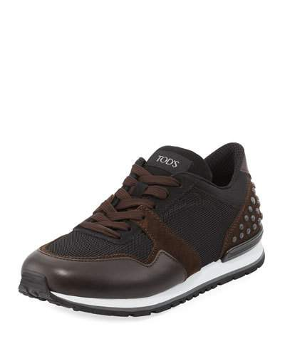 Brown Trainer Brown Mesh And Leather Black Men's Black Tod's Sneaker TzgqnII0