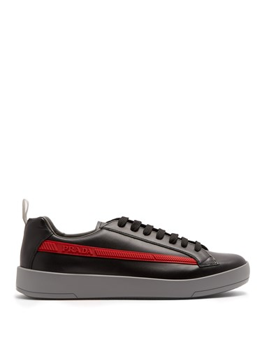 Prada Low Top Leather Trainers Black KnuQI
