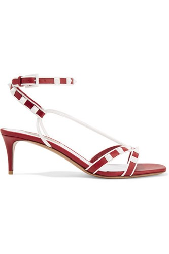 Valentino The Rockstud Leather Sandals Red zZw19