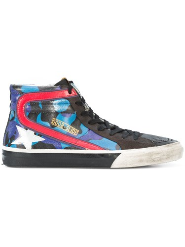 Golden Goose Deluxe Brand Slide Sneakers Calf Leather Polyurethane Blue Y1DuO1PL