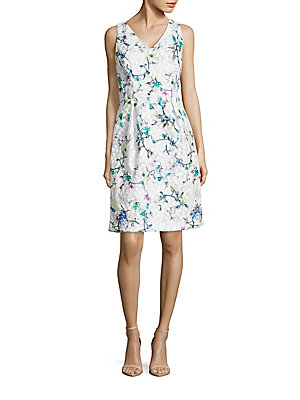 David Meister Embroidered Floral Dress White Multicolor rP2DBzSsr