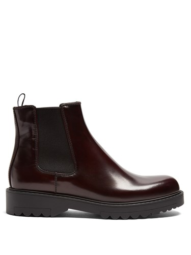 Prada Leather Ankle Boots Dark Red 7tSuYWVD5s