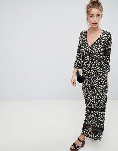 Asos Design Maxi Tea Dress In Floral Print With Lace Inserts Floral Print Multi 41c0b2