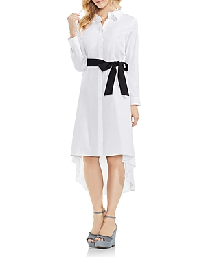 Vince Camuto High Low Belted Shirt Dress Ultra White ju2yJ