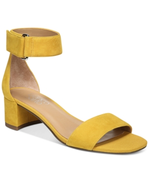 Franco Sarto Rosalina Two Piece Block Heel Dress Sandals Women's Shoes Yellow Suede KOUdXVE7