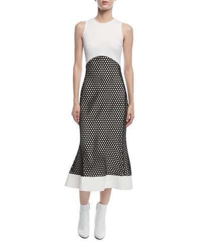 David Koma Sleeveless Macrame Midi Dress White Black NhNysHIY