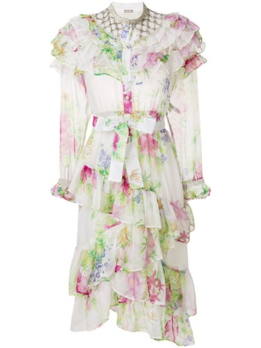 Dodo Bar Or Floral Print Ruffle Tiered Dress White TSjDcTqZ