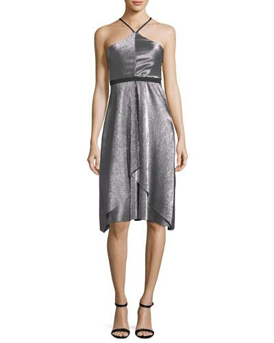 Likely Dixon Halter Sleeveless Fit And Flare Cocktail Dress Gray GP8gktCBX