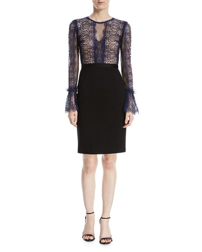 Catherine Deane Kegan Lace And Ponte Long Sleeve Dress Midnight Blue TImyrq8a