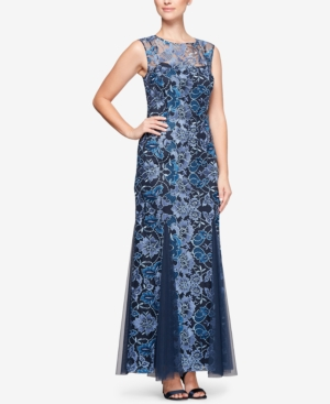 Alex Gown Navy Illusion Evenings Multi Embroidered 6wqvHTA