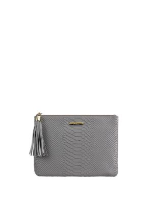 Slate Bone Clutch All One Leather Python York Tan Spruce Gigi New In Embossed q1W7wSP