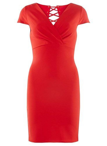 Dorothy Perkins Red Lace Back Bodycon Dress TtmtbwQ