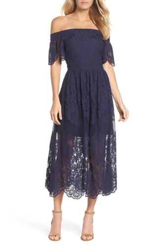 Vince Camuto Off The Shoulder Lace Midi Dress Navy ep5yULlHG