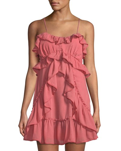 Red Carter Ruffle Trimmed Strappy Mini Dress Pink scGbYQ
