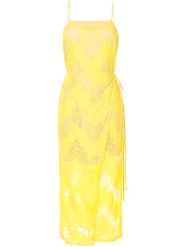 Goen.J Lace Square Neck Open Back Slip Dress Yellow And Orange o5RDI9b