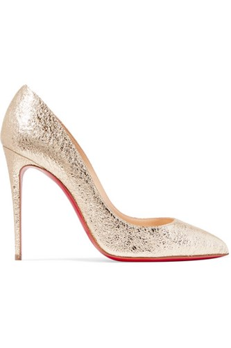 Christian Louboutin Pigalle Follies 100 Metallic Crinkled Leather Pumps Gold Gbp lbpHUCNw