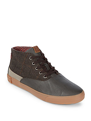 Ben Sherman Percy Mid Top Lace Up Sneakers Grey Wool T8W0S5n