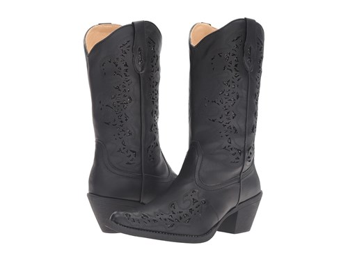 Roper Alisa Black Faux Leather Cowboy Boots uSm3FIUJb