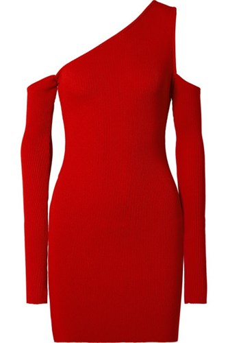Amiri Cutout One Shoulder Ribbed Knit Mini Dress Red Gbp Dpxiiy1