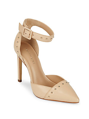 Saks Fifth Avenue Point Toe Studded Pumps Nude PF1Co04R2