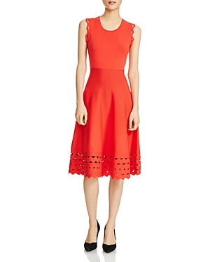 Maje Rumba Perforated Knit Midi Dress Bright Red zJprU